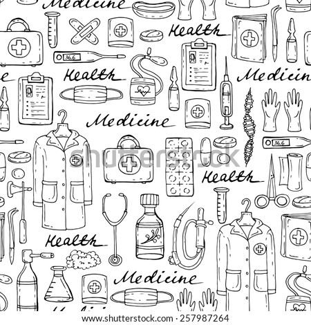 Vector seamless pattern with hand drawn medical symbols on white background. Background for use in design, web site, packing, textile, fabric - stock vector