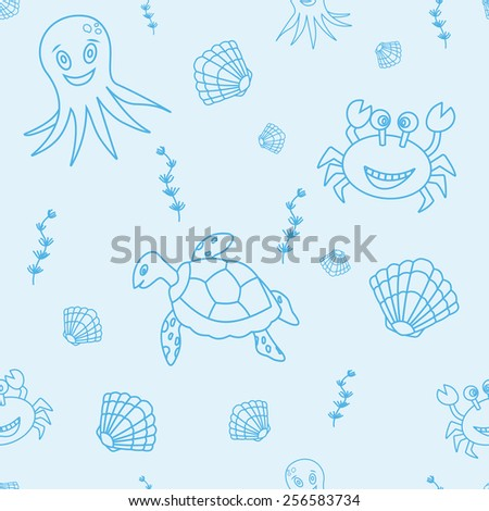 Vector seamless pattern with hand drawn octopus, crab, sea turtle sea shell, seaweeds. Tropical sea life design - stock vector