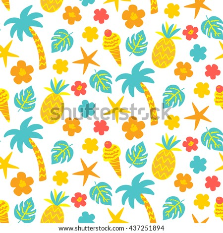 Vector seamless pattern with hand drawn palm trees, pineapples, ice cream, sea stars in bright colors - stock vector