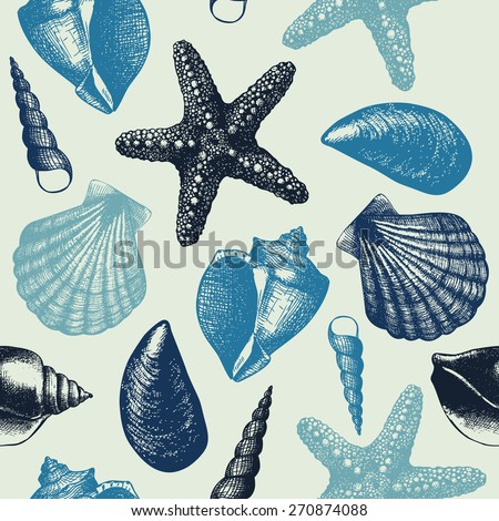 Vector seamless pattern with hand drawn sea shell sketch . Vintage background with sea shells in pastel blue colors