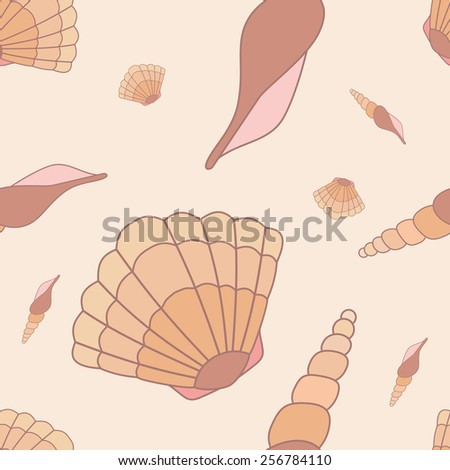 Vector seamless pattern with hand drawn sea shells. Tropical sea life design. - stock vector