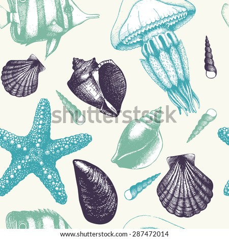 Vector seamless pattern with hand drawn small fish, sea shells, sea star and jellyfish sketch. Vintage background with sea life illustrations - stock vector