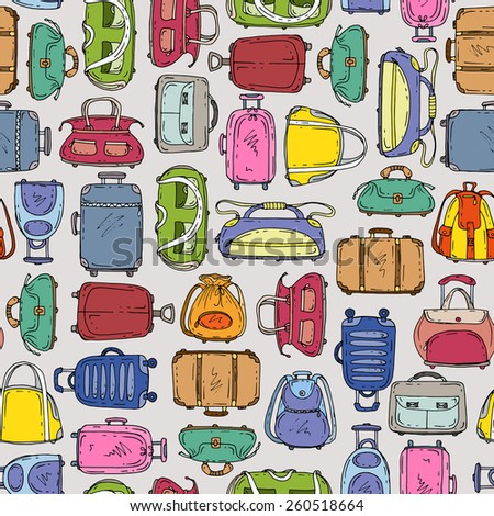 Vector seamless pattern with hand drawn suitcases and bags on gray background. Background for use in design, web site, packing, textile, fabric