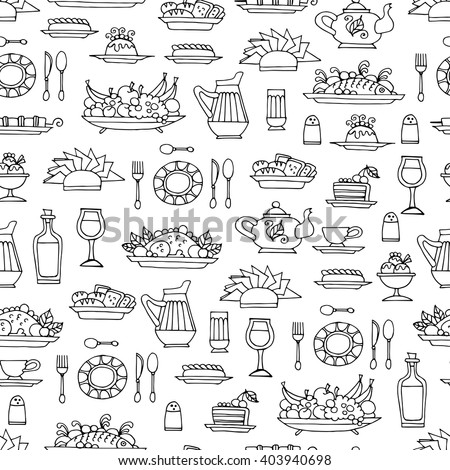 Vector seamless pattern with hand drawn symbols of breakfast, lunch or dinner on white color.  Pattern on the theme of  food. Background for use in design, packing, web site, fabric