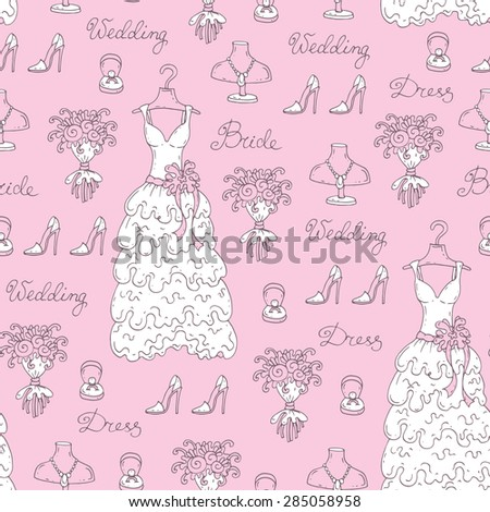 Vector seamless pattern with hand drawn symbols of bride. Pattern with wedding dress, ring, flowers, shoes and jewelry on pink color. Background for use in design, web site, packing, textile, fabric - stock vector