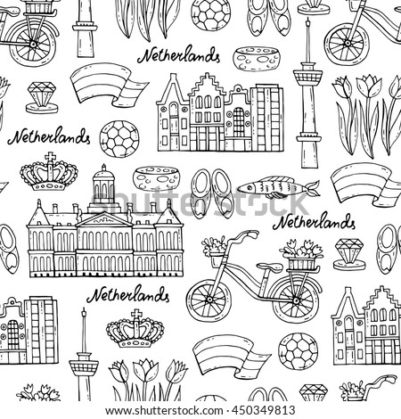 Vector seamless pattern with hand drawn symbols of Netherlands on white color. Pattern on the theme of travel and tourism. Background for use in design, packing, web site, fabric