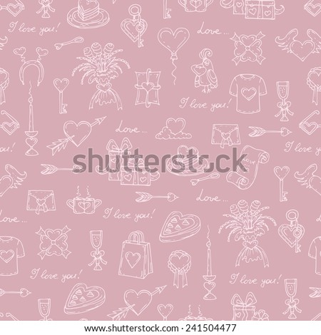 Vector seamless pattern with hand drawn symbols on the love theme on pink background. Background for use in design, web site, packing, textile, fabric