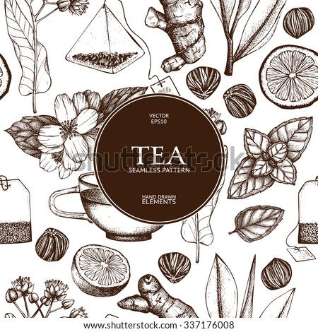 Vector seamless pattern with  hand drawn tea illustration. Decorative inking background with vintage tea sketch.  - stock vector