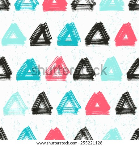 Vector seamless pattern with hand drawn triangles . - stock vector