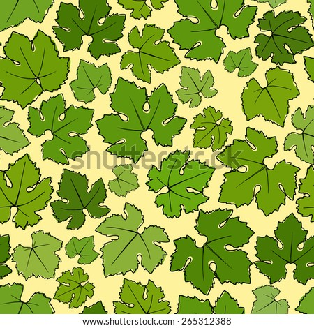 Vector seamless pattern with hand drawn wine grape leaves.  - stock vector
