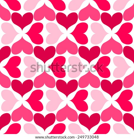 Vector seamless pattern with heart shapes - stock vector