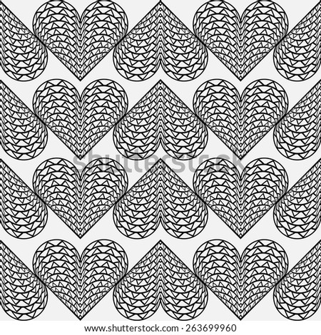 Vector seamless pattern with hearts. Black and white geometric stylish background. - stock vector