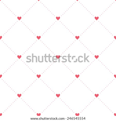 Vector seamless pattern with hearts. Holiday repeating texture for St. Valentine's Day. Simple stylish background - stock vector