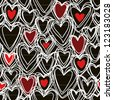 Vector seamless pattern with hearts of doodles made chalk on blackboard. Simple background Valentines Day's, wedding in hand drawn childish style. Abstract ornamental cute illustration for print, web - stock vector