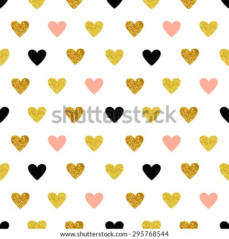 Vector seamless pattern with hearts of rose gold and black. Gold hearts, sparkles, shining hearts. Paddle, children's background. - stock vector