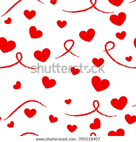 vector seamless pattern with hearts on a white background
