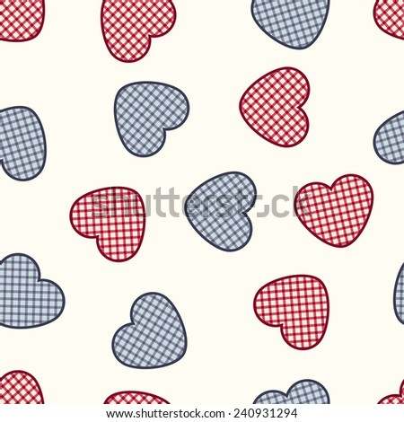 Vector seamless pattern with hearts. Romantic decorative graphic background Valentines Day's, wedding, Christmas. Simple drawing ornamental illustration for print and web design