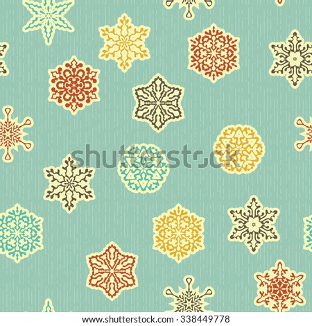 vector seamless pattern with  highly detailed paper cut white snowflakes, fully editable eps 8 file with clipping masks, patterns in swatch menu  - stock vector