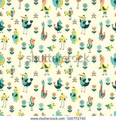 Vector seamless pattern with honey birds - stock vector