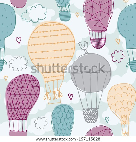 Vector seamless pattern with hot air balloon in the sky  / background/ wall paper - stock vector