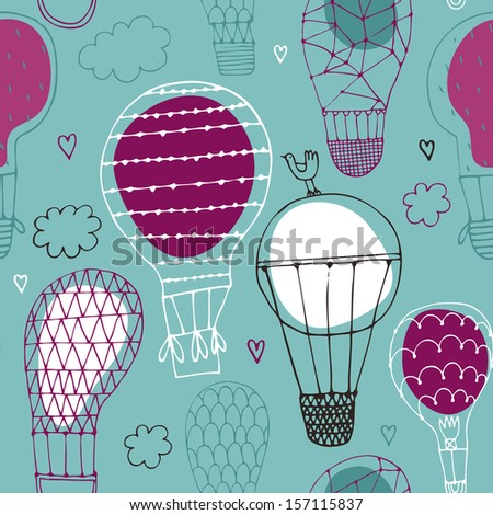 Vector seamless pattern with hot air balloon in the sky  / background/ wall paper