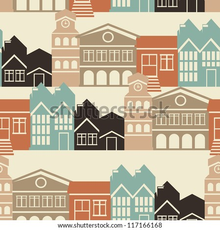 Vector seamless pattern with house and building icons in  retro style - stock vector