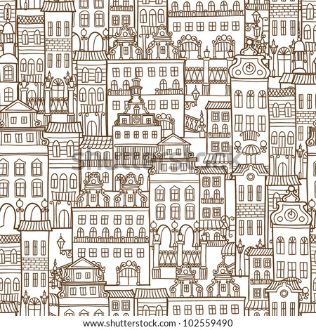 Vector seamless pattern with houses - stock vector