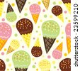 vector seamless pattern with ice cream - stock vector