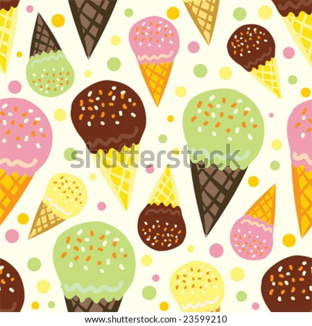 vector seamless pattern with ice cream