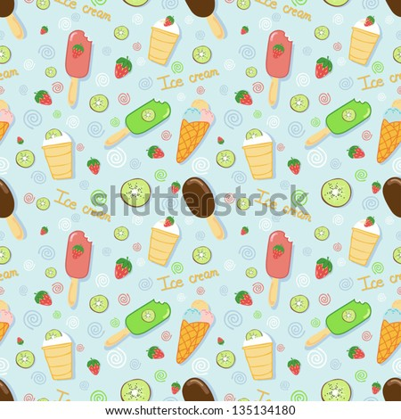 Vector seamless pattern with ice creams - stock vector