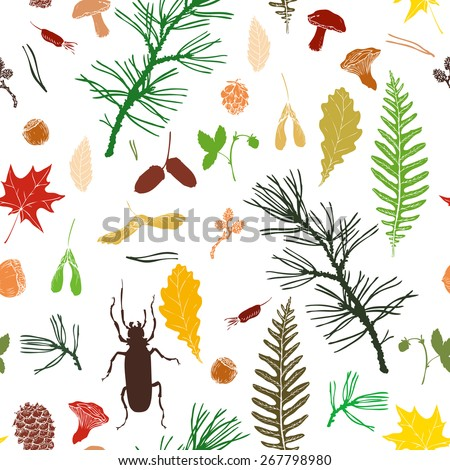 vector seamless pattern with ink drawing forest objects, seeds, leaves, twigs, pine cones, beatles, hand drawn vector illustration - stock vector