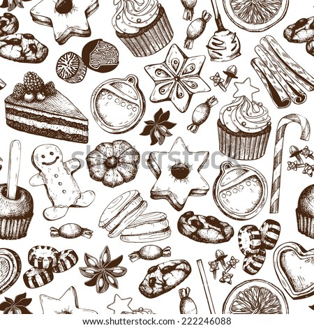 Vector seamless pattern with ink hand drawn Christmas sweets and pastries illustration isolated on white. Vintage bakery background. - stock vector
