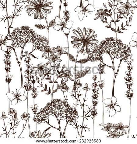 Vector seamless pattern with ink hand drawn herbs illustration isolated on white. Vintage background with herbs flowers and butterflies sketch - stock vector