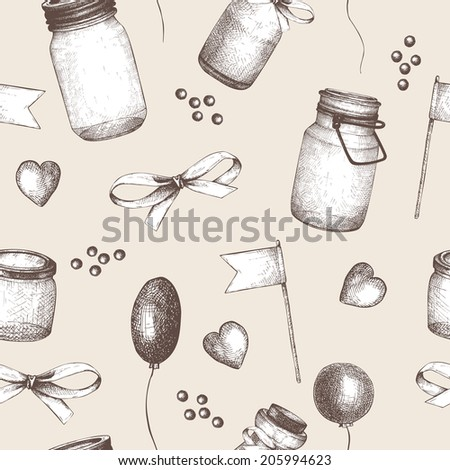 Mason jar pattern stock images royalty free images vectors vector seamless pattern with ink hand drawn mason jars for wedding decoration vintage decorative background pronofoot35fo Images