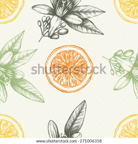 Vector seamless pattern with ink hand drawn orange fruit, flowers and leaves sketch. Vintage citrus background in pastel colors - stock vector