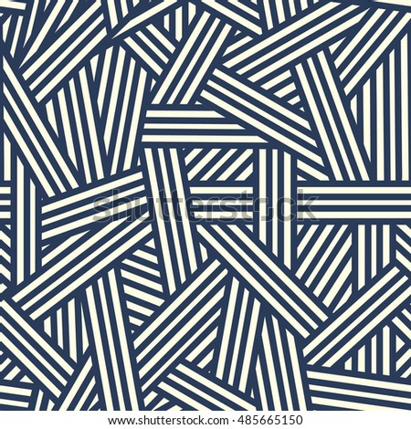 Vector  seamless pattern with interweaving of Blue lines.