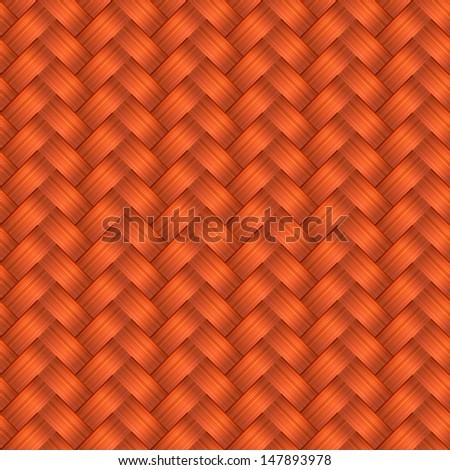 Vector seamless pattern with interweaving of redhead braids. Abstract ornamental background in form of a knitted fabric. Illustration of stylized textured yarn or hairstyle with plaits close-up. EPS10 - stock vector