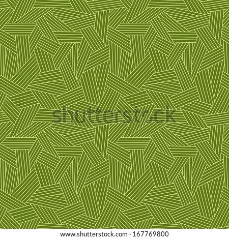 Vector seamless pattern with interweaving of strokes. Traditional hatching of architectural hand drawn graphic. Green abstract ornamental background with stylized grass, covering for print, web - stock vector