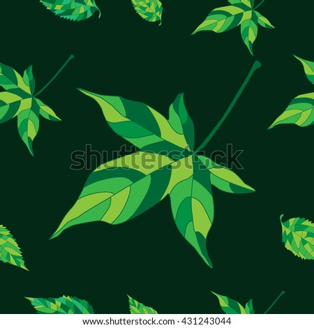 Vector seamless pattern with ivy leaves - stock vector