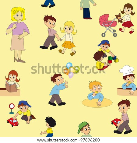 Vector seamless pattern with kid's - stock vector
