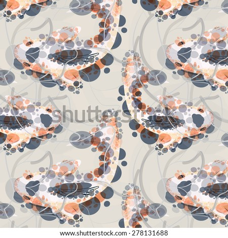 vector seamless pattern with koi fish on it. Japanese goldfish. can be used for background, tattoo, banner, poster, wallpaper, textile etc. made in aquarelle style. - stock vector