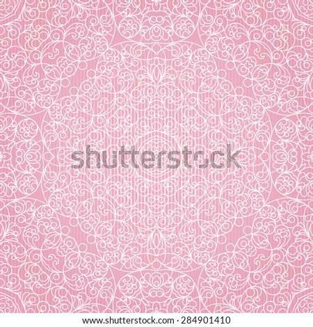 Vector seamless pattern with lace ornament. Vintage element for design in Eastern style. Ornamental pink tracery. Ornate floral decor for wallpaper. Endless texture. Summer pattern fill. - stock vector