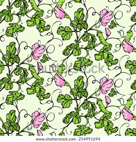 Vector seamless pattern with lathyrus flower - stock vector