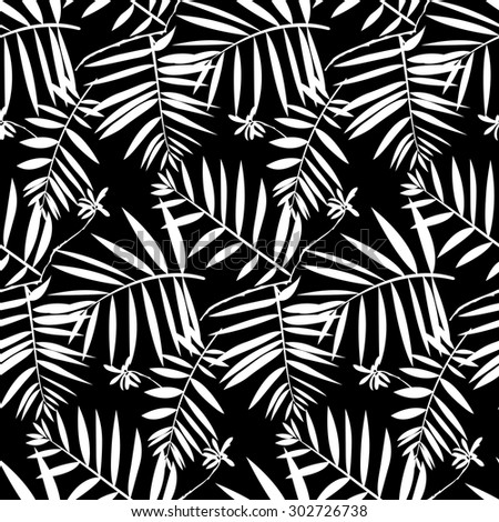Vector seamless pattern with leafs inspired by tropical nature and plants like frond palm tree and ferns in black and white for fall winter fashion. Graphic floral print, simple texture and background - stock vector