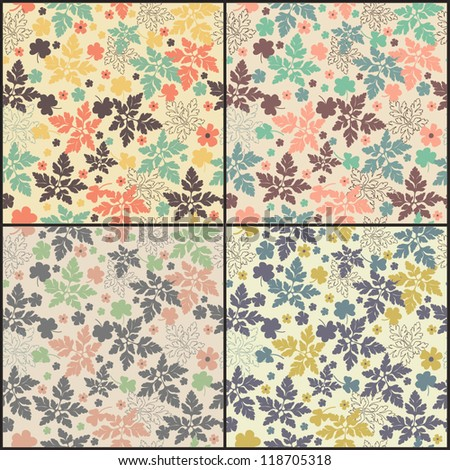 Vector seamless pattern with leaves - stock vector