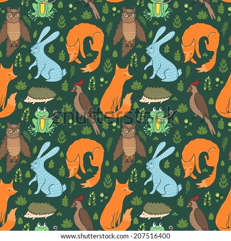 Vector seamless pattern with leaves, berries, branches and cute forest animals: fox, rabbit, frog, hedgehog, owl and woodpecker. Hand drawing natural texture.