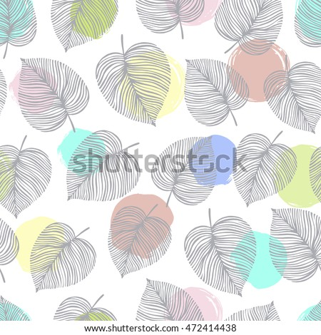 Vector seamless pattern with leaves. Good for fashion fabric print, surface texture, pattern fills, web page background.