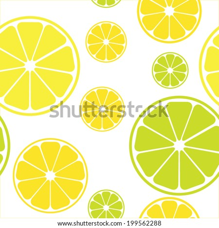 Vector seamless pattern with lemons white background - stock vector