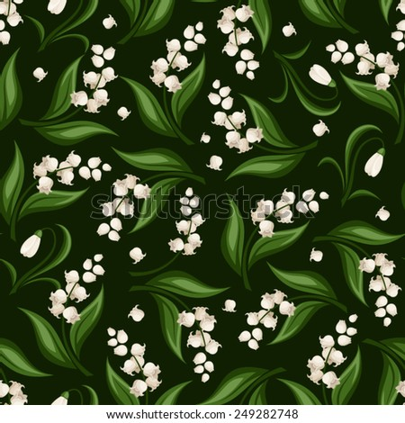 Vector seamless pattern with lily of the valley and snowdrop flowers on dark green. - stock vector