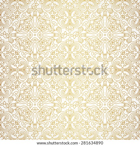 Vector seamless pattern with line art ornament. Vintage element for design in Victorian style. Ornamental lace tracery. Ornate floral decor for wallpaper. Endless texture. Outline pattern fill. - stock vector